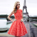 cocktailkle Sweet 2016 Coral Color  robe de cocktail Flower Romantic Knee Length Orange Cocktail Dresses Short Party Gowns