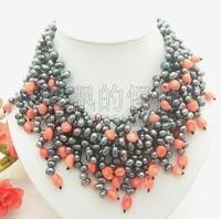 N012942 17 4Strands Black Pearl Pink Coral Necklace