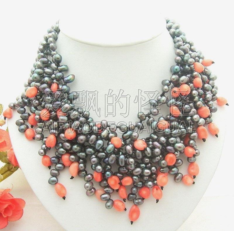 """N012942 collier 17 """"4 brins noir perle rose corail"""