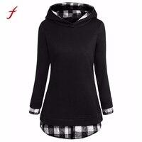 שחור סווטשירט קפוצ 'ונים טלאים משובצים מקרית נשים שרוול ארוך חולצות הסוודר להאריך ימים יותר מעיל צמר עם ברדס סווטשירט הנשי