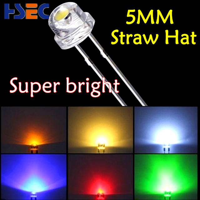 Super bright 1000pcs 5mm straw hats(4.8MM) Blue Red Green White Yellow Pink Purple Orange Warm White color 4.8mm Clear LED diode