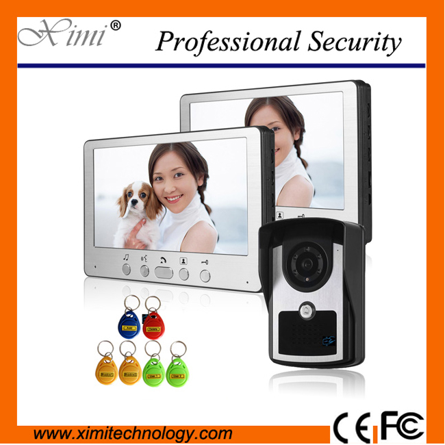 125KHZ rfid access control video door phone hands free video door phone with 6pcs IR cameras wired video intercom