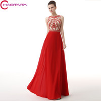 Crystal Jewel Evening Dresses New Long 2018 Chiffon Sheer Neck And Back Sexy Red Gown Party Prom Elegant