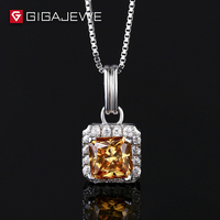 Yellow Gold Color Missanite stone Necklace 9mm Size cushion Cut Stone With Chain 925 SILVER