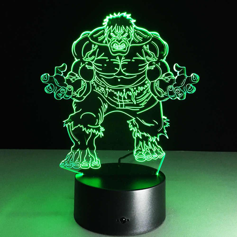 Мстители, Халк 3D модель игрушки Иллюзия bulbing ночник Проекционные дети тумбочка лампа USB LED электронный гаджет Домашний Декор