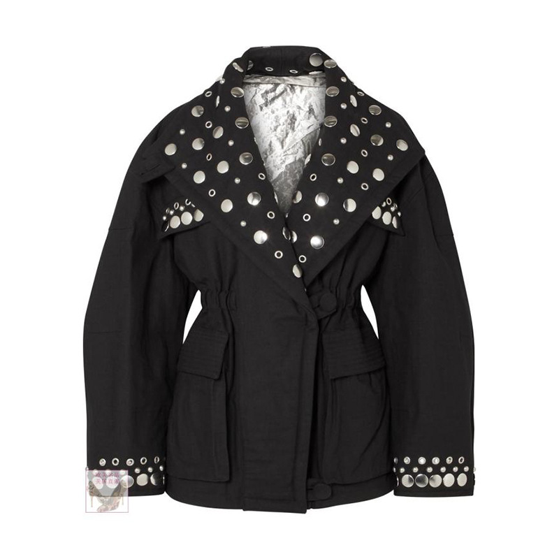 Rock Rue Manches Vestes V Femmes Marque Hiver Harajuku Black Pardessus De Manteaux 2018 Cou Automne Rivet Lanterne Luxe Vêtements 4xaIq