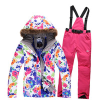 Free Shipping Hot Sale Female Snowboard Ski Suit Jacket Clothes Sets Pants Windproof Waterproof
