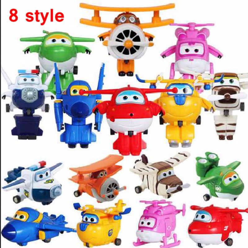 Hot Sale Super Wings Mini Planes Transformation Robots Action Figures 8 style Wings Super Deformation kids toys Gifts набор канцелярский planes