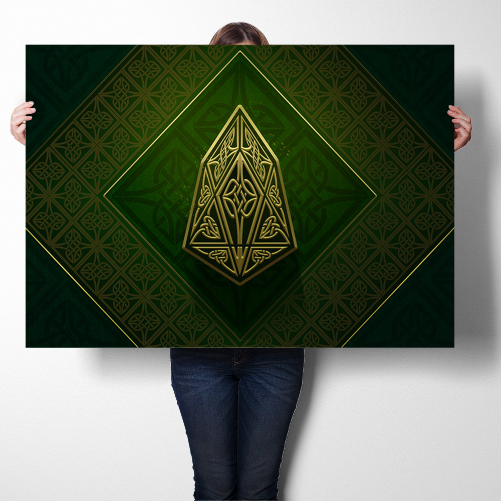 Wall Art Sticker Prints Silk Fabric Poster And Print Virtual Currency Eos Logo