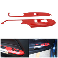For Ford Mustang Window Lift Switch Button Panel Covers Trims Door Armrest Panel Frame Stickers 2015 2018 Car Interior Part