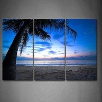 3 Panels Unframed Wall Art Pictures Beach Palm Canvas Print Modern Seascape Posters No Frames For Home Living Room Decor