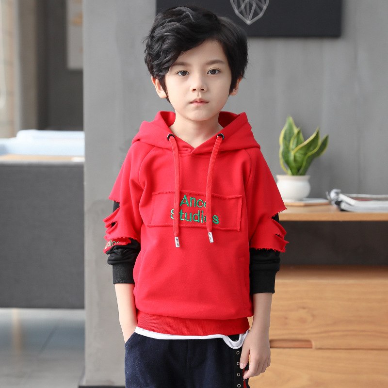 Kids Boys Hooded shirt 2018 spring / autumn children's embroidery T-shirt long-sleeved bottoming shirt For Teenage Tops 2016 new children s clothing boys long sleeved t shirt large child bottoming shirt spring striped shirt tide