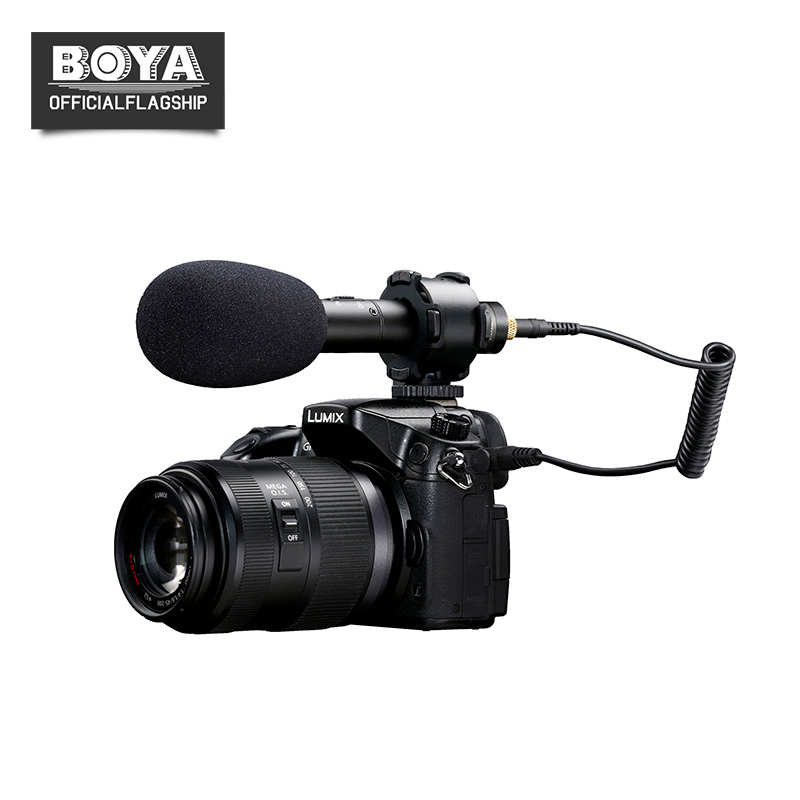 BOYA BY-PVM50 3.5mm Stéréo X/Y Condenseur Vidéo Microphone pour Canon Appareil Photo REFLEX NUMÉRIQUE Caméscope Audio Recorder Mic Livraison pare-brise
