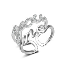 Luxury Ring fashion jewelry silver  white gold Plated crystal ring female wedding rings alphabet you me rings for women