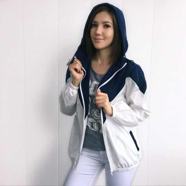b119ad1cdb2 ZAFUL con capucha con dos tono cazadora chaqueta Patchwork Mujer Chaquetas  de bloque de Color de