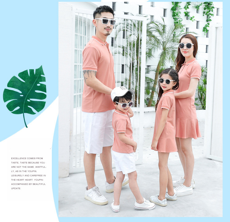 HTB1fcq2XpT7gK0jSZFpq6yTkpXag - family matching outfits summer Polo shirt mother daughter matching dresses dad son turn down collar family couple clothes