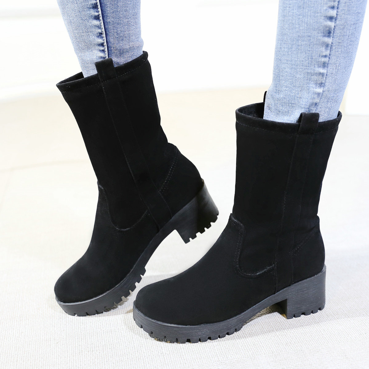 Female Flock Leather Mid Calf Boots Thick Low Heels Platform Slip On Round Toe Winter Fashion Ladies Shoes Green Red Black стоимость