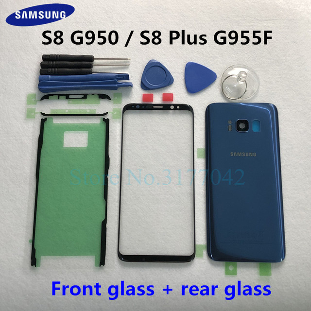 For Samsung Galaxy S8 Plus S8+ G955F S8 G950 G950F Front Touch Panel Outer Lens + Rear Battery Door Back Glass Housing Cover