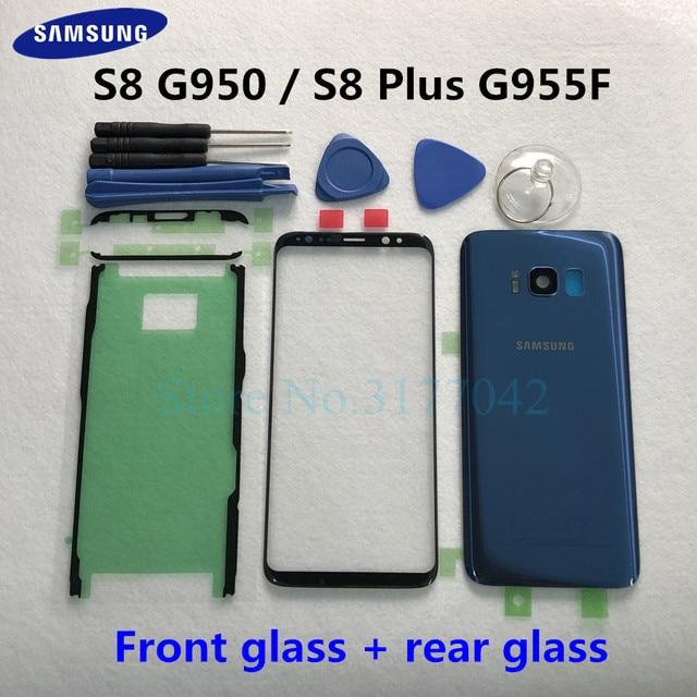 Для Samsung Galaxy S8 Plus S8 + G955F S8 G950 G950F Передняя Сенсорная панель Внешний объектив + задняя крышка батарейного отсека задняя стеклянная крышка корпуса