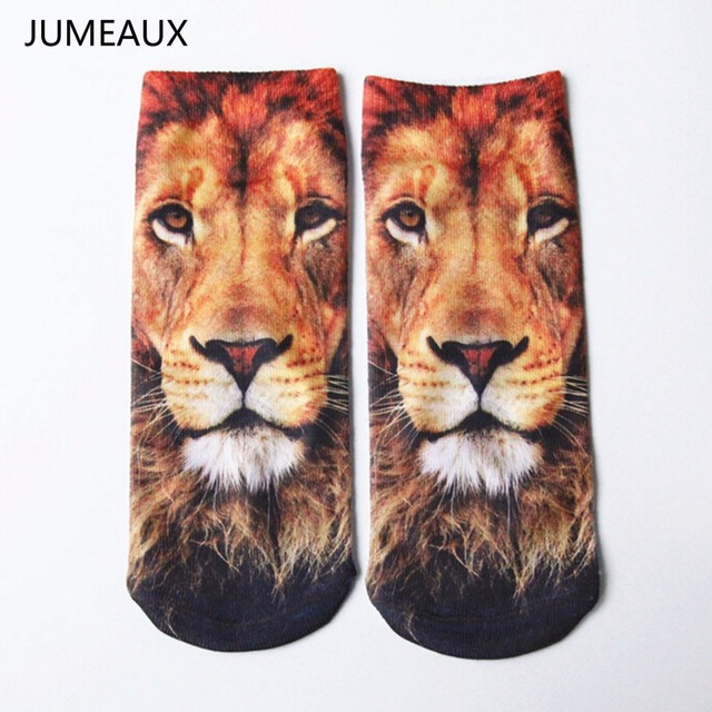 JUMEAUX Hot Sale 3D Prints Animal Socks Fashion Tiger Pandon Art Socks Low Cut Ankle Short Socks for Women