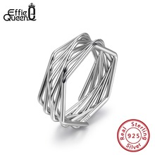 Effie Queen Genuine 925 Sterling Silver Women Rings Geometric Shape Many Lines Unique Party Ring Jewelry Anillos BR128