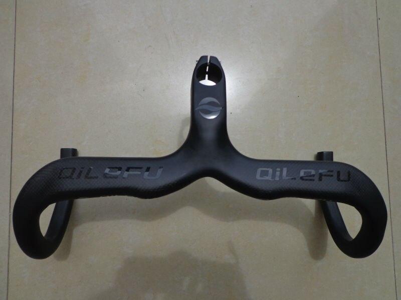 Nejnovější lesklé černé obtisky QILEFU Silniční kolo matné 3K plné uhlíkové vlákno řídítka a stopka integrovaná + otvory pro stent Doprava zdarma