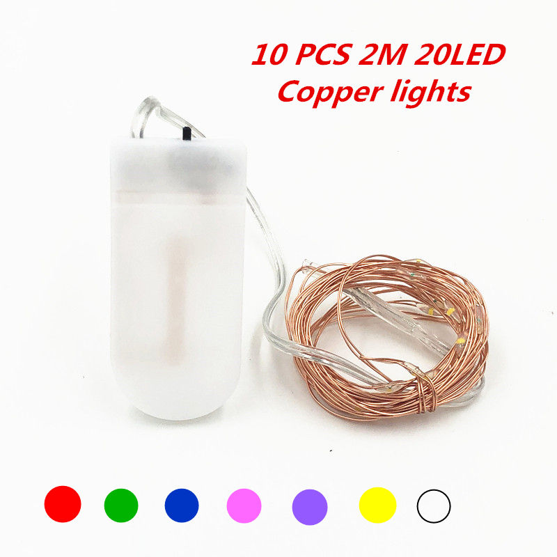 LED Fairy Light 2m LED String Light Waterproof Copper Wire Powered by CR2032 Battery for Garland Christmas Wedding Decoration