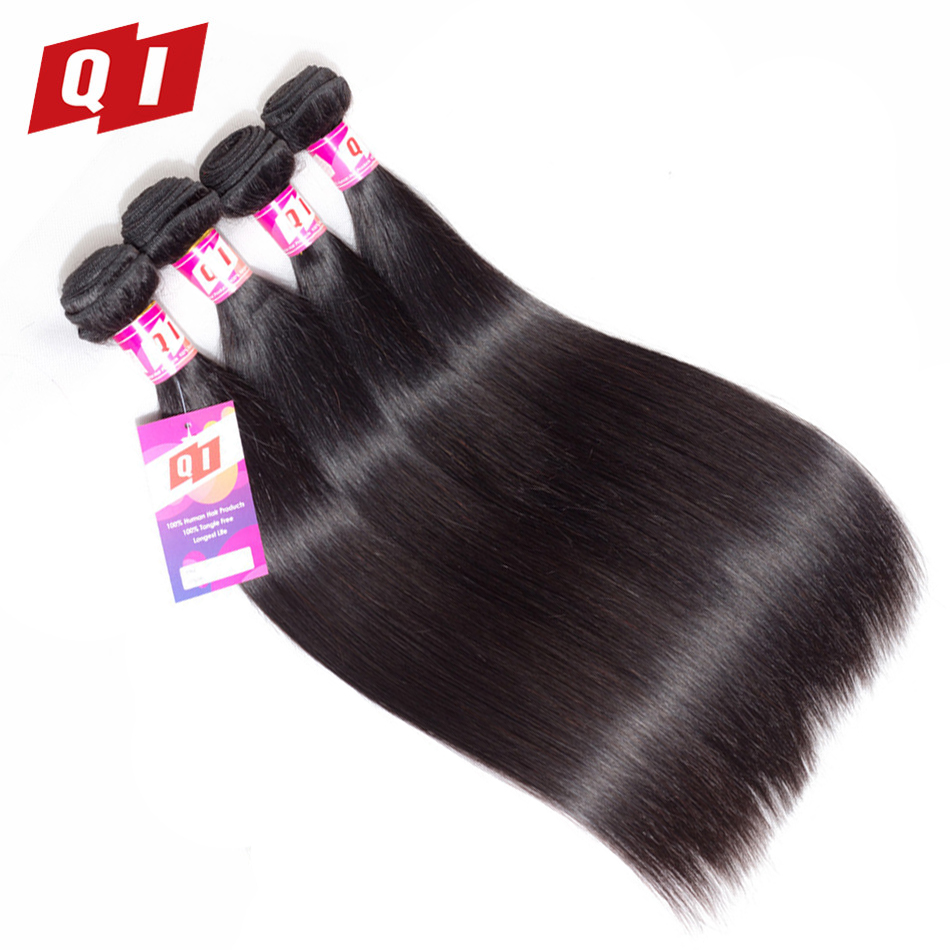QI Hair Straight Mongolian Hair Weave 4 Bundles 100% Human Hair Natural Color Hair Extensions Non Remy 8-26 Inches Double Weft