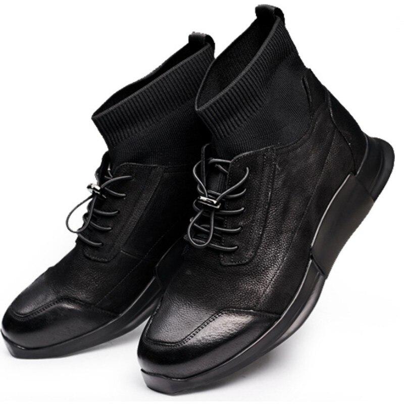 Zapatos de calcetín casuales de hombre de cuero genuino de alta altura de tobillo de deslizamiento en zapatillas de deporte de lujo botas de marca masculina de otoño negro zapatos planos zapatos - 6