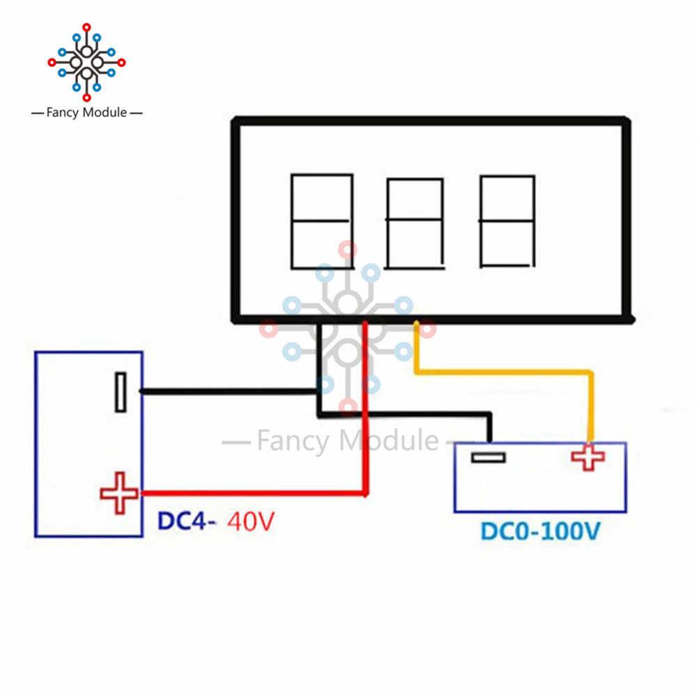 """1 шт. мини 0,28 дюйма 0,28 """"3 провода цифровой вольтметр Синий Красный Зеленый Желтый светодиодный дисплей постоянного тока 0-100 в измеритель напряжения"""