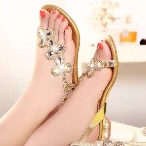 Image 4 - Cuculus 2020 nova boêmia sandálias femininas cristal sandalias strass corrente sapatos mulher tanga flip flops zapatos mujer pd21