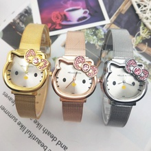 Kids Cartoon Student Watch Clock Children Girls Lovely Rose Seel Wrist