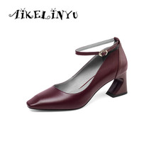 AIKELINYU Autumn Sexy Square Head High Heel Women Pumps Fashion Genuine Leather Coarse Shoes Basic Buckle Strap Ladies Pump