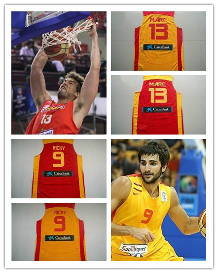 d7b52187ee6 Free shipping Spain Basketball Star Ricky Rubio Marc Gasol Basketball  Jerseys Spain National Basketball Jersey