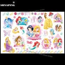 SHNAPIGN Cinderella Snow White Mermaid Child Temporary Flash Tattoo Body Art Sticker 17x10cm Tatoo Painless Henna Selfie