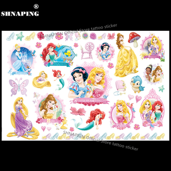 SHNAPIGN Cinderella Snow White Mermaid Child Temporary Flash Tattoo Body Art Sticker 17*10cm Tatoo painless Henna selfie