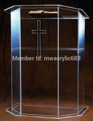 Free Shipping High Quality Price Reasonable Beautiful Clear Acrylic Podium Pulpit Lectern Podium Plexiglass