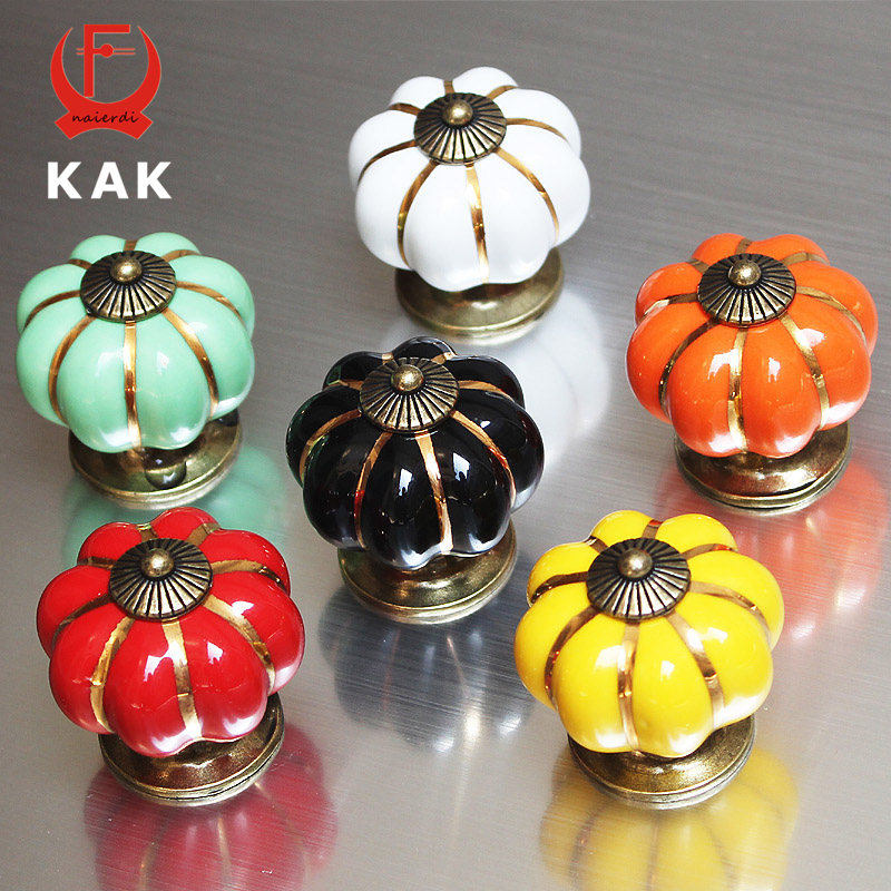 Ceramic Kitchen Cabinet Handles Drawer Pull Knobs Antique: KAK Rural Ceramic Pumpkin Handles 40mm Zinc Alloy Drawer