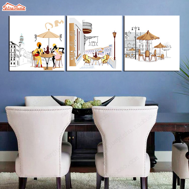 ShineHome 3pcs Wall Art Canvas Prints Paintings Triptych Modular Drink  Coffee Silhouettecity Picture Cafe Hotel