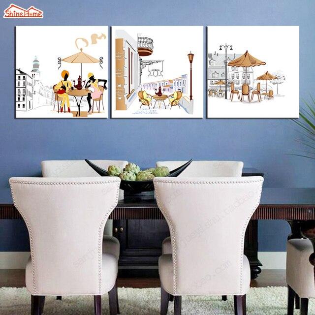 ShineHome 3pcs Wandkunst Leinwand Gemälde Triptychon Modulare Kaffee  Trinken Silhouettecity Bild Cafe Hotel Esszimmer Deko