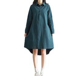 2018 New Spring Autumn Cotton Line Dress Women Vintage Literature  Long Sleeved Shirt Dresses Female Vestidos Z302 1