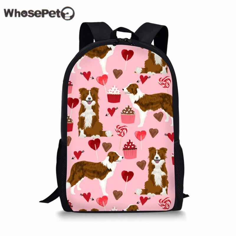 WHOSEPET Children Schoolbag Cute Border Collie Pattern School Backpacks For Kids Girls Boys Bookbags Womens Bag Mochila Escolar