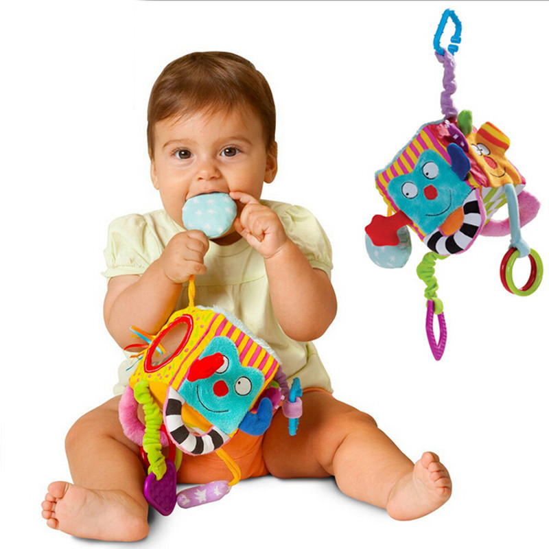 0-12 Months Educational Baby Toys New Infant Stuffed Doll Mobile Plush Cloth Building Block Set Soft Cube Rattle Toy For Kids