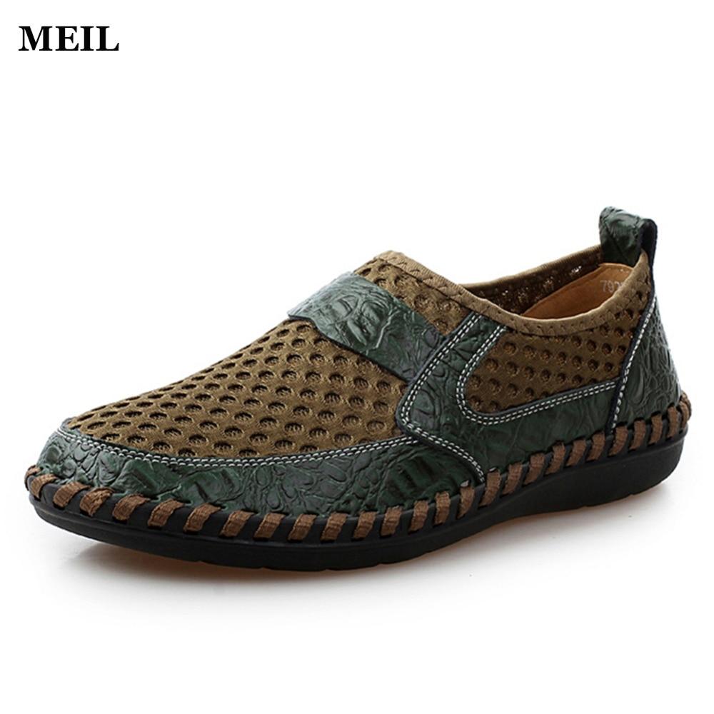 الرجال الأحذية جلد طبيعي الصيف عارضة أحذية تنفس لينة القيادة الرجال اليدوية chaussure أوم صافي سطح متعطل