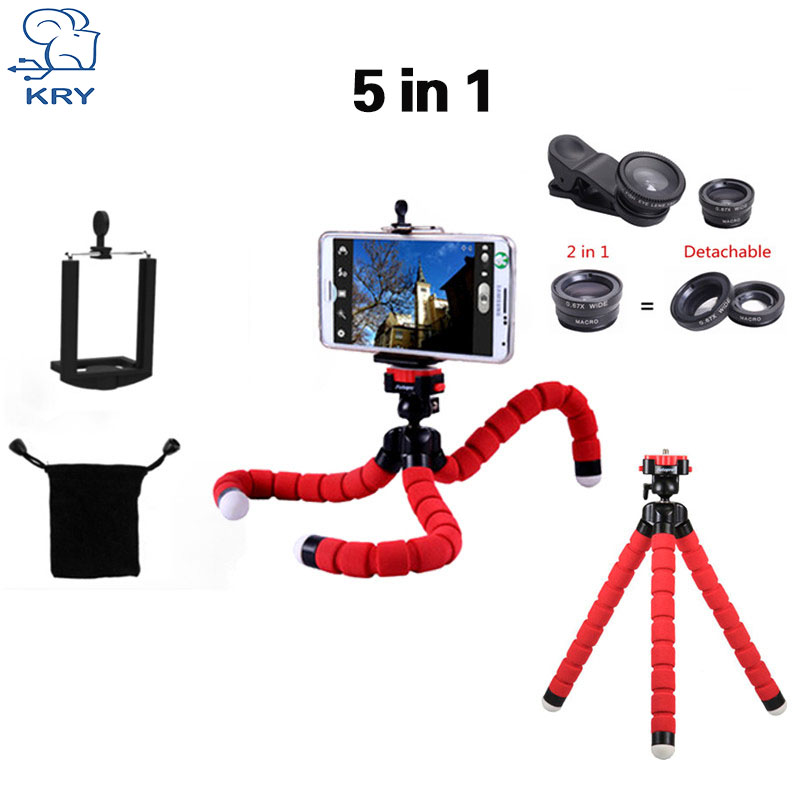 KRY 5in1 Tripod fish eye Fisheye Lentes 3in1 lenses for iPhone 6 7 lens for xiaomi mi6 Camera lens wide Lens camera phone Macro