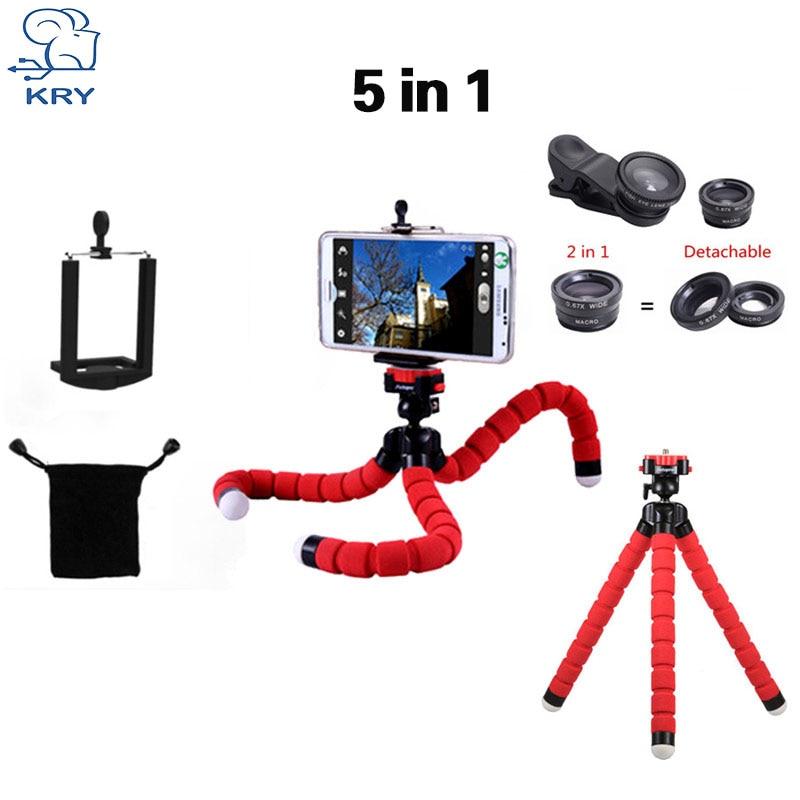 KRY 5in1 Tripod fish eye Fisheye Lentes 3in1 lenses for iPhone 6 7 lens for xiaomi mi6 Camera lens wide Lens camera phone Macro
