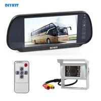 DIYKIT Quality 7inch HD Mirror Monitor Car Monitor Waterproof CCD Rear View Car Camera White for Truck Caravan Bus Van
