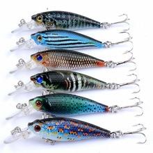 6Pcs/Lot 3D Painting Fishing Lure 6.5cm/5g Sinking Leurre Dur Peche Souple Big Sea Hard Bionic Bait Lures VMC Treble 8# Hooks