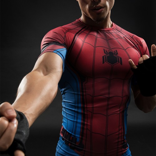 Avengers Red Spider-man Cosplay Men's Workout Top Short Sleeved T-shirt, Summer Fashion Round-neck Print Casual Sports T-shirt