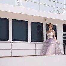 Elegante A Line Abendkleider Lange Appliques Lace Sheer Neck Backless Tulle Frauen Prom Abendgesellschaft Kleider Vestido De Festa